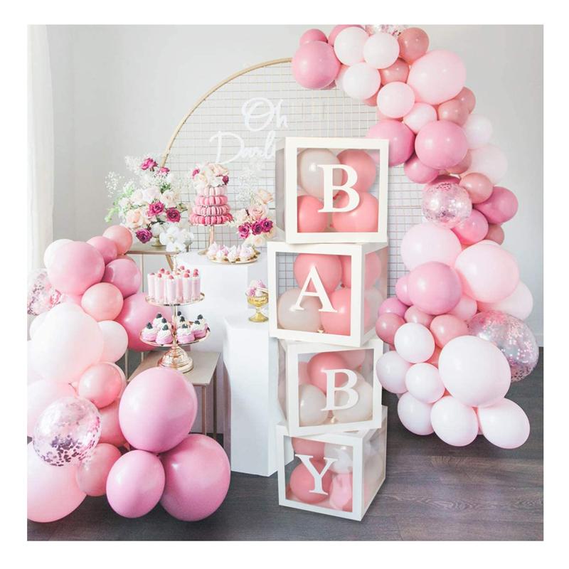 Коробка для детского душа, прозрачная коробка для воздушных шаров для детского душа, украшения для детского душа, набор для девочек и мальчиков, товары для дня рождения