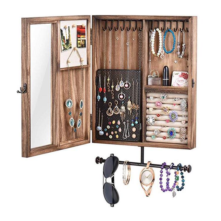 Soporte para pendientes Organizador de joyas plegable con soporte para pulsera Expositor de pendientes para pendientes black