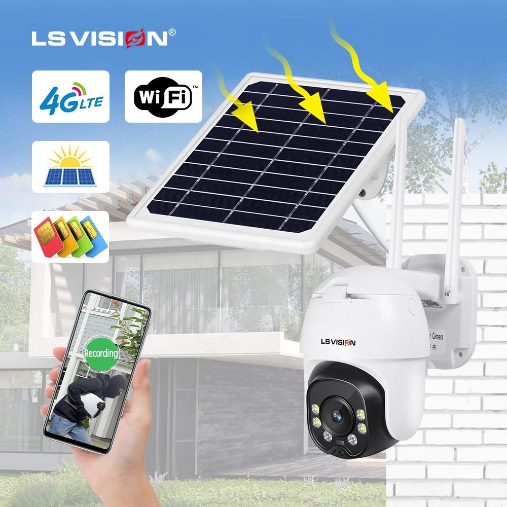 LS VISION 1080P CCTV IP Camera H.265 Night Vision P2P Remote View PTZ Wifi Wireless Outdoor Waterproof 4G GSM Solar Panel Camera