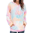 Cotton Hoodie Tie Dye Sweatshirt Long Sleeve Casual Drawstring Pullover Cotton Hoodie Tops With Pocket