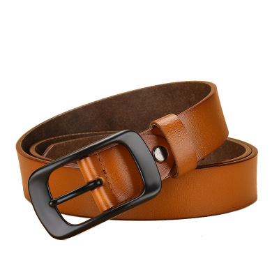 2020 Personalize Classic Plain Color Smooth Buckle Casual Leather Belt For Women
