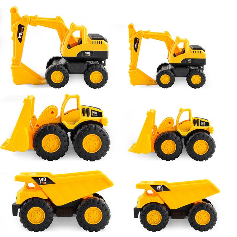 Construction Site Vehicles Toy Engineering Cars Dump Trucks Excavator Bulldozer Birthday Gift Cake Decoration For Kids Children