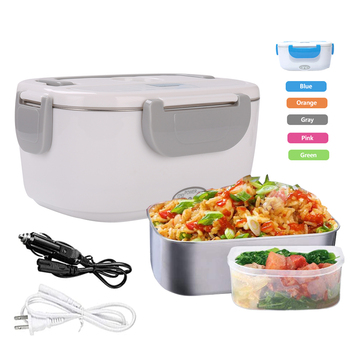 Hot Sale 110v 12v thermo Portable Removable 304 Bento Tiffin Food Heated Electric Lunch Box Stainless Steel