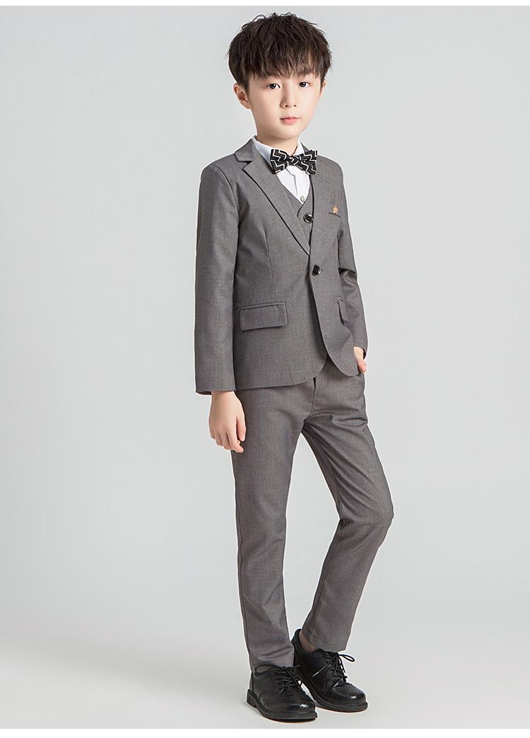 Осенние красные/серые черные костюмы для малышей из 3 предметов для мальчиков, Свадебный официальный детский Блейзер, костюм, смокинг, одежда для вечеринки, куртка + жилет + брюки