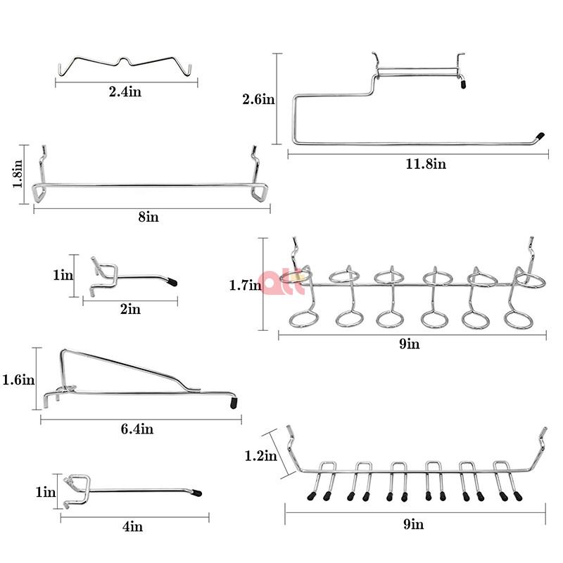 170 шт. pegboard Крючки ассортимент рельсы pegboard Дисплей Органайзер для инструмента пластичный крюк двойной крюк для pegboard