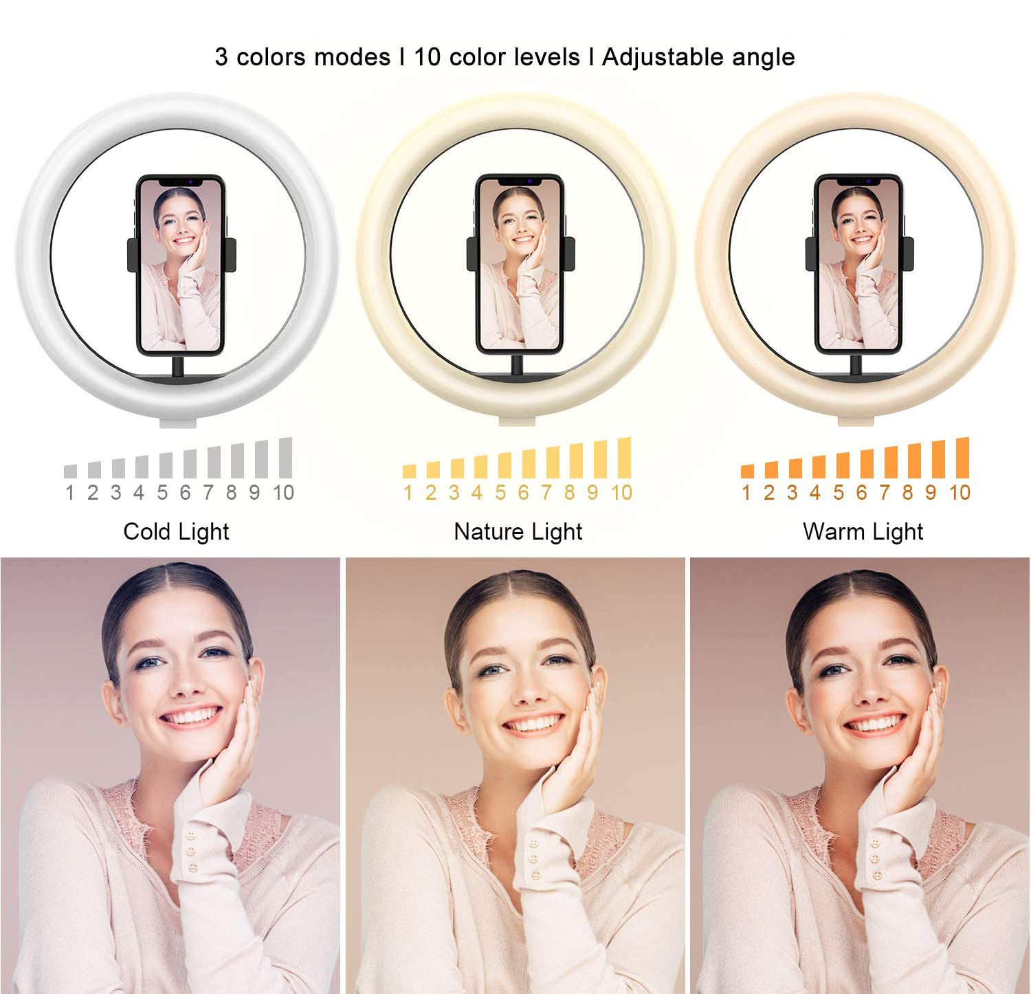 Photo LED Selfie Ring Fill Light 10 inch Dimmable Camera Phone 26CM Ring Lamp With Stand Tripod For Makeup Video Live Studio