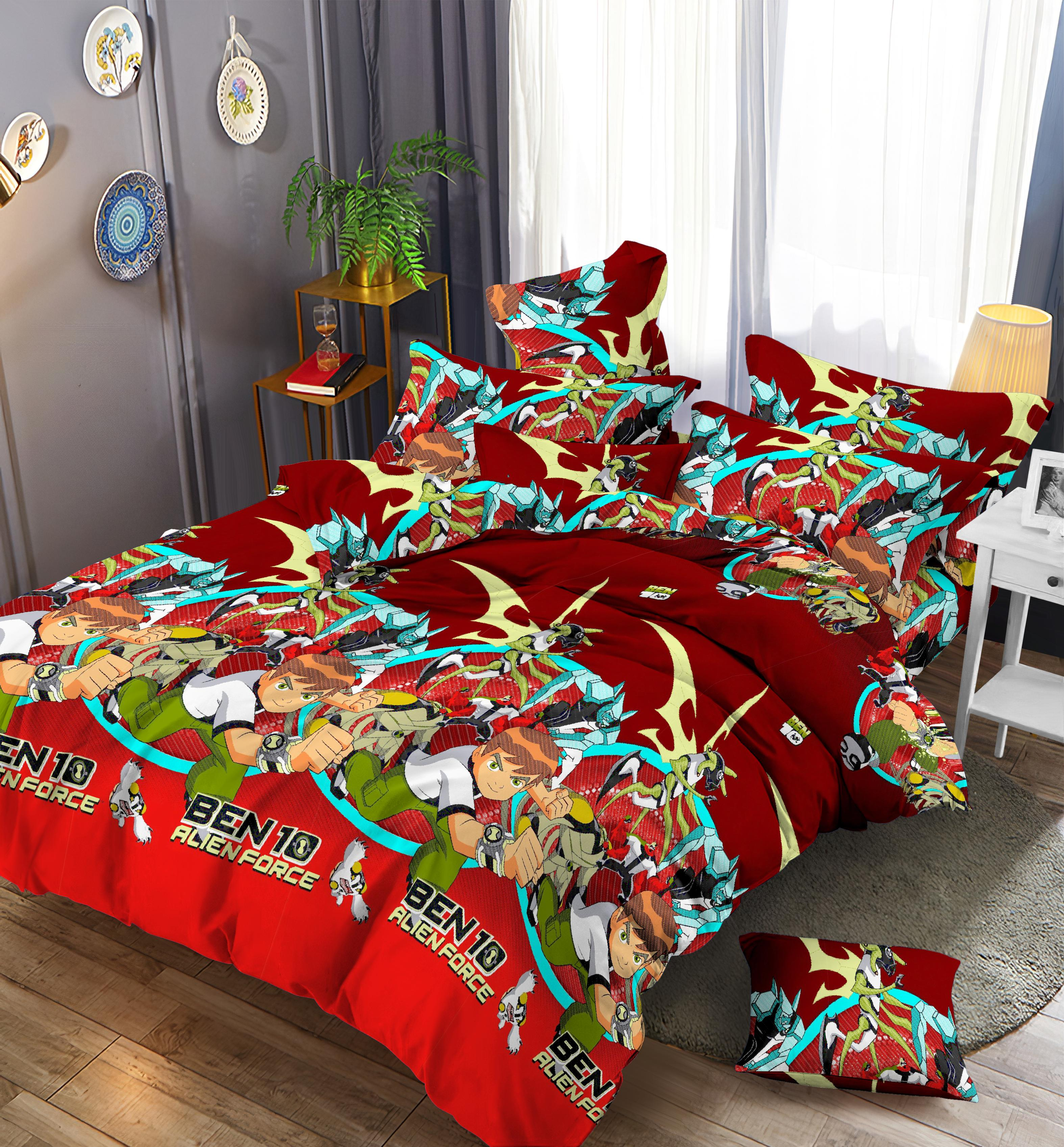 Cute child bed cover set 4pcs cheap white print double bed sheets on sale