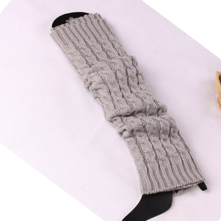 Solid Color Geometric Pattern Jacquard Over The Knee Slouchy Black Leg Warmers Winter for Girls