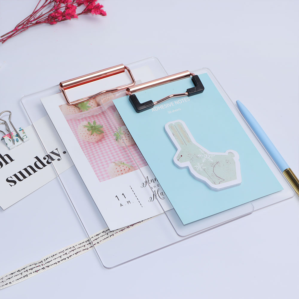 Support logo customized rose gold plastic sublimation A4 Acrylic clipboards