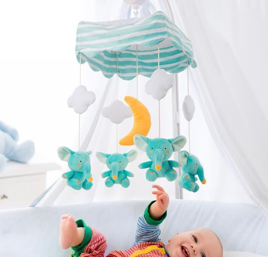 custom crib musical mobile set new born baby mobile with soft toys packed in colorbox from anhui
