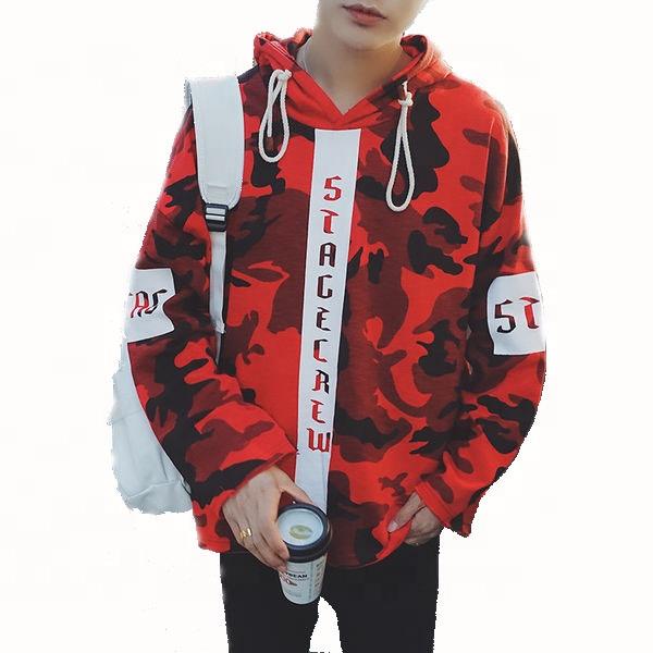 2021 Custom Hip Hop Clothing New Camouflage Hooded Collar Men Wholesale Camo Hoodie Sweatshirt