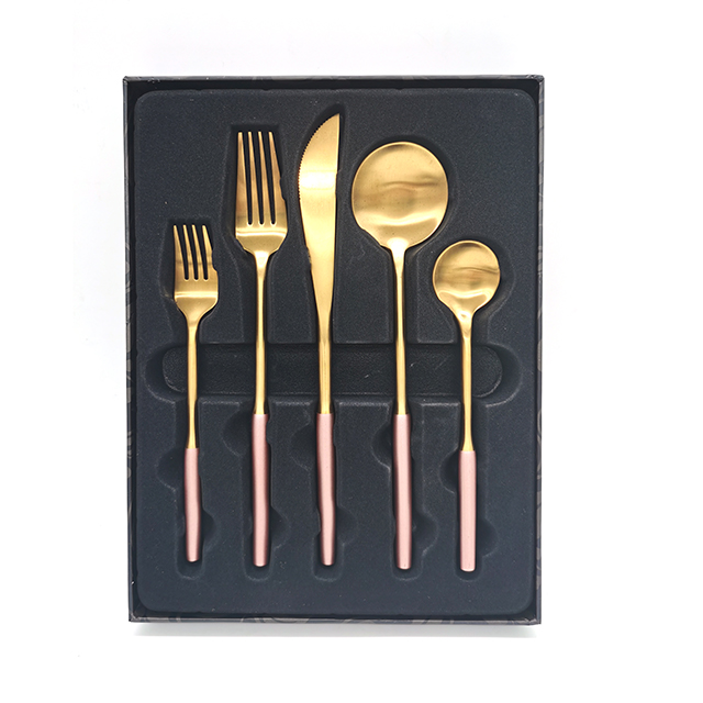 Fork Knife Spoon Set Copper Cutlery Wedding Plated Wholesale Matte Gold Flatware cutlery set