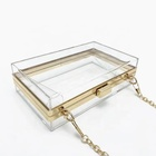Evening Handbag Box Evening Purse Transparent Acrylic Clutch Bag Clear Crossbody Evening Chain Box Purse Handbag