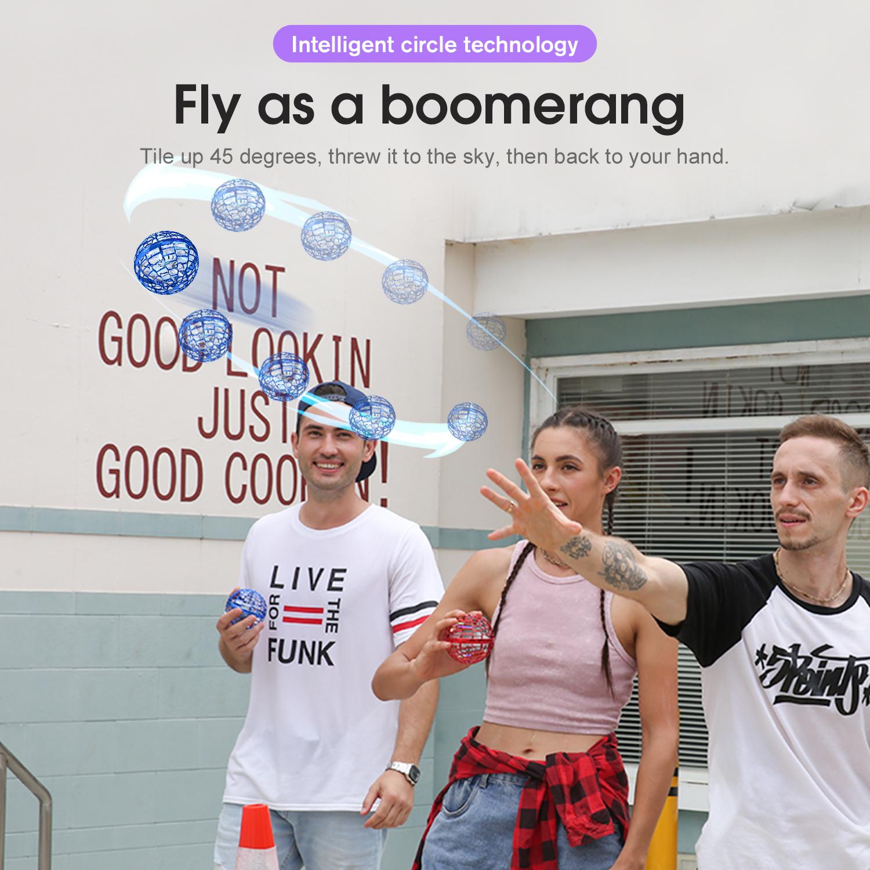 Flynova pro boomerang flying ball mini helicopter ufo spinner RGB magic wand optional