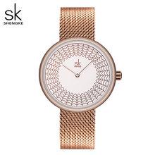 Shengke новые женские часы с креативным циферблатом роскошные часы с розовым золотом Стильные наручные часы с сеткой водонепроницаемые кварце...(Китай)