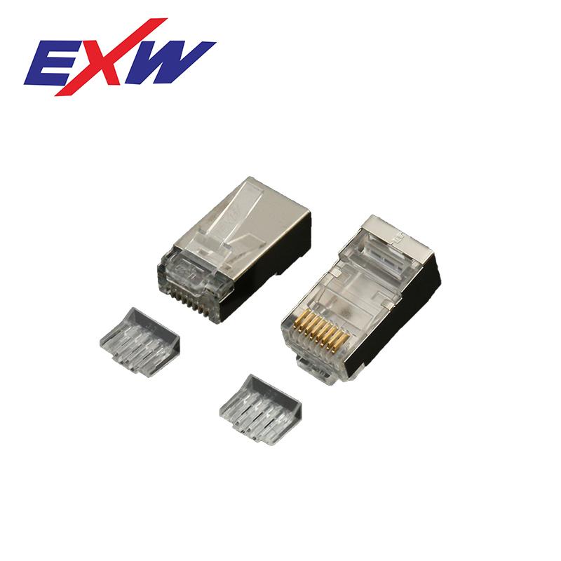 2 Prongs/3 Prongs Gold Plate Waterproof Shielded Male 8P8C Cat6 Cat 5E Rj 45 Plug Connector