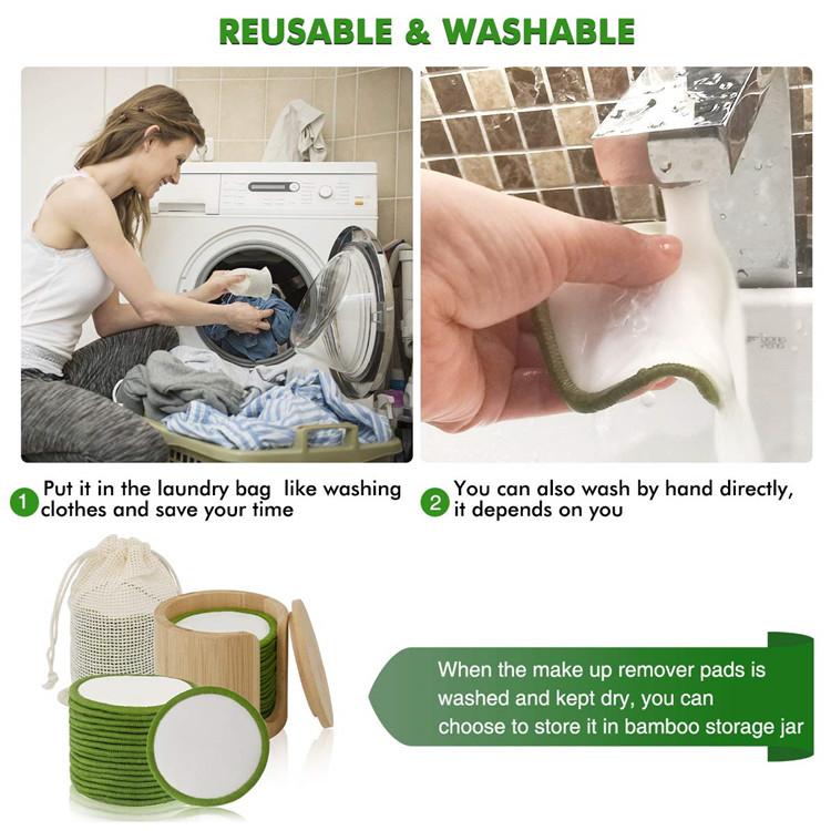 laundry bag storage jar washable facial cloth reusable bamboo makeup remover pads