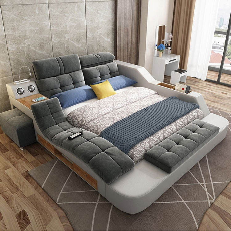 Wholesale hot sale multi-function smart furniture home fabric bed massage tatami platform double bed