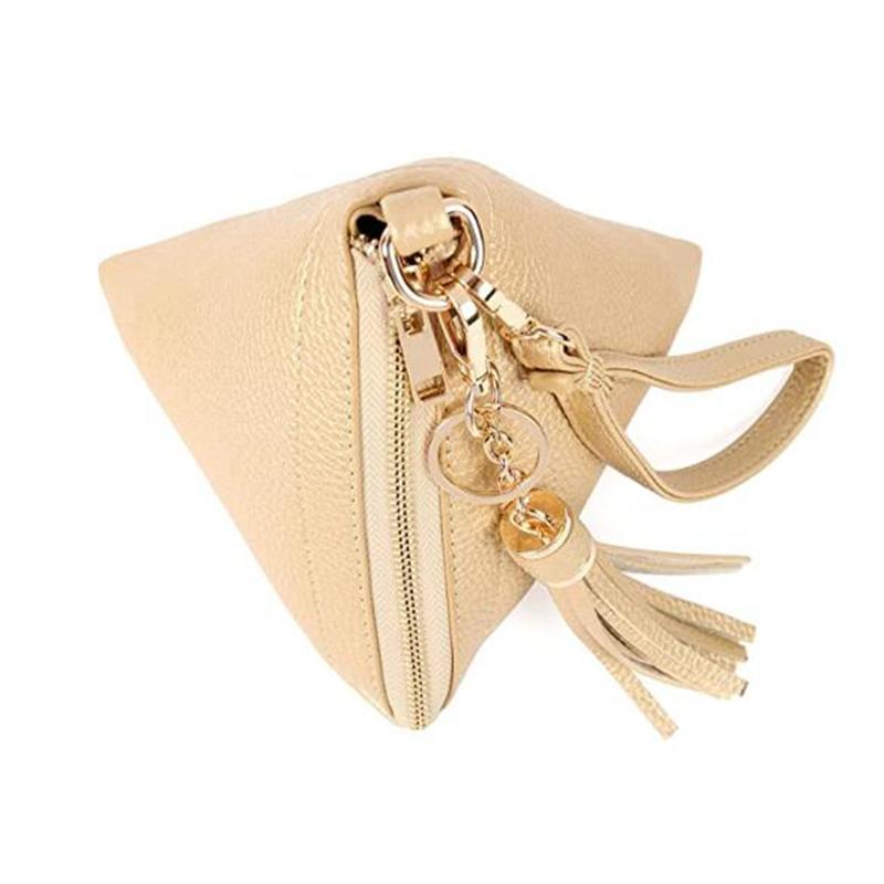 Модный маленький чехол из искусственной кожи с треугольным дизайном для ключей с ручкой