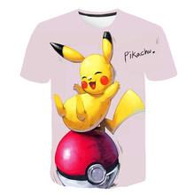 Новая модная футболка с принтом Pokemon для мальчиков от 4 до 11 лет, детская одежда, футболка, футболки с короткими рукавами для мальчиков и дево...(Китай)
