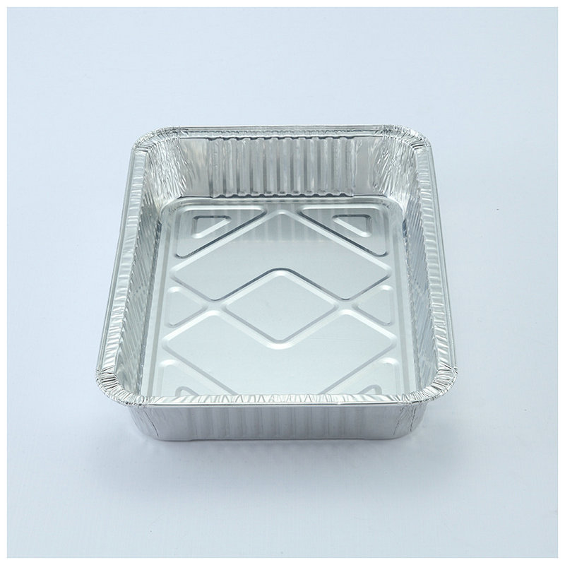 8x8x2 disposable square aluminum food tray foil baking pan with lid