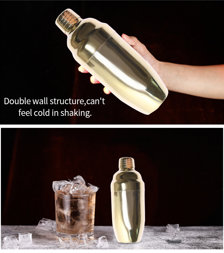500ml stainless steel double wall boston cocktail shaker set