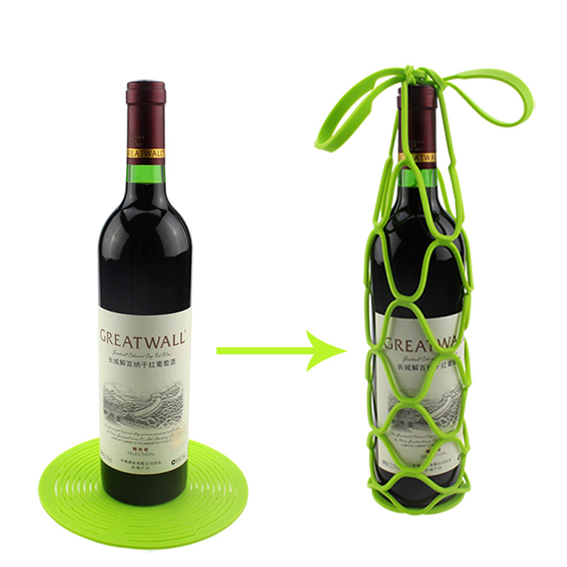 Custom Silicone Wine Bottle Carrier Water Bottle Tote Bags Cup Coaster Wine Bottle Mesh Basket for Picnic