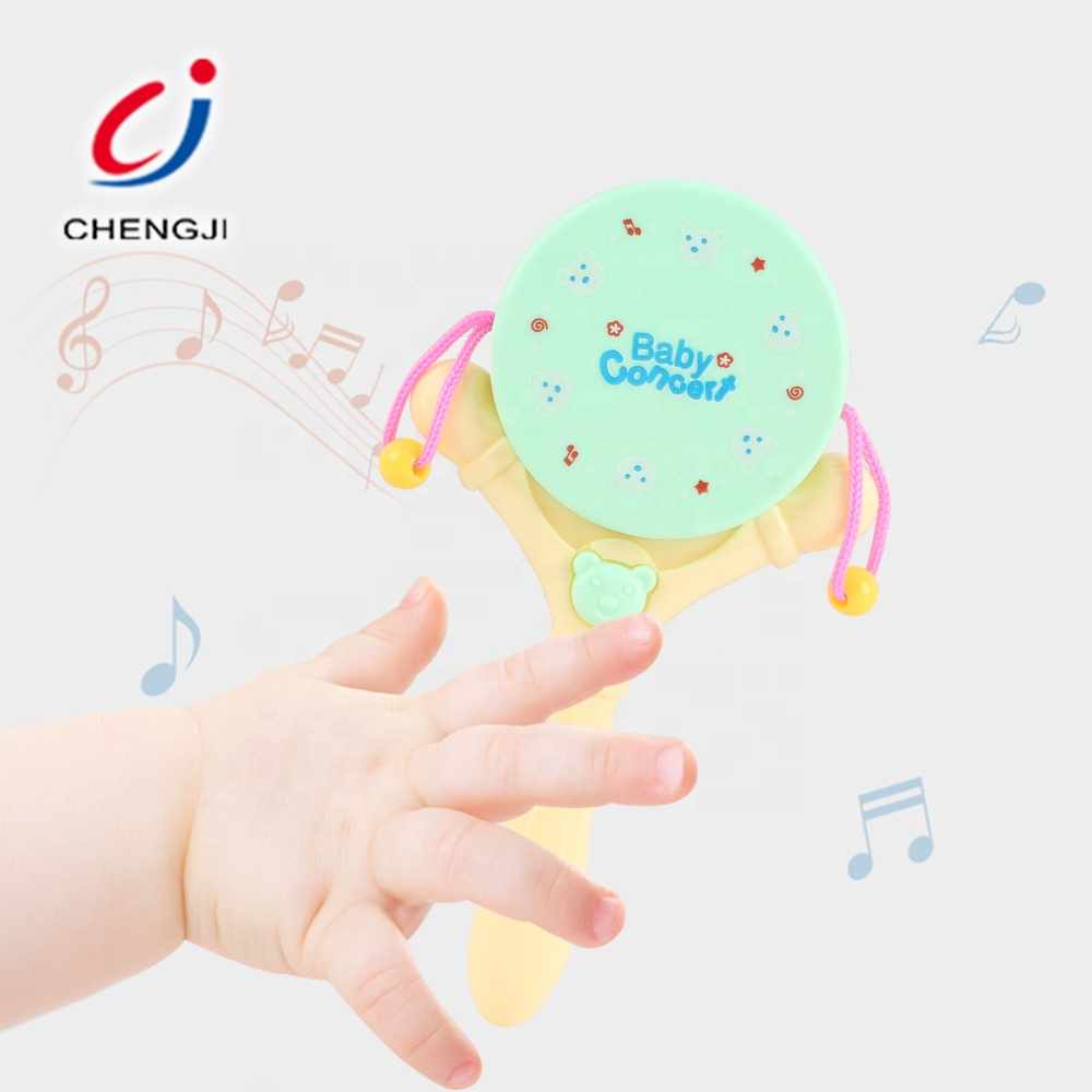 Eco-friendly plastic infant play shaking hand bed rattle cartoon baby bell toy