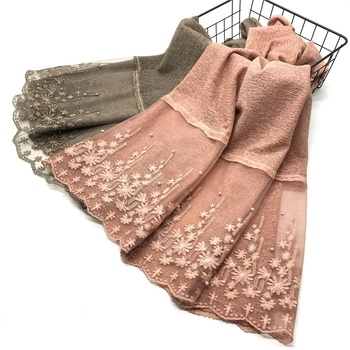 High quality Muslim women scarves shawls pearl embroidery flower cotton hijab scarf