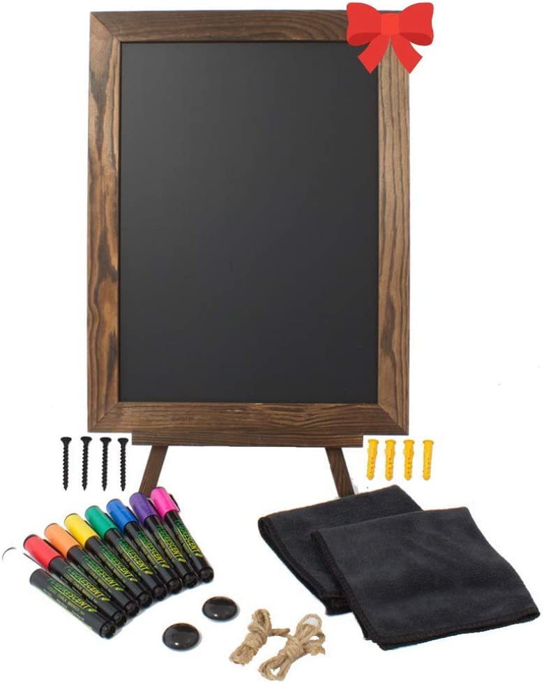 Chalkboard Sign with Easel Stand Pack Wooden Frame Includes 8 Liquid Chalk Markers and Multiple Accessories Perfect Rustic Decor - Yola WhiteBoard   szyola.net