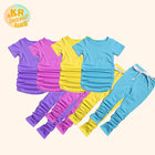 Unisex Summer Outfits Children Stacked Pants Set Kids Jogger Suits Short Sleeve Clothing Sets