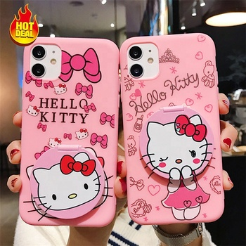 Cartoon Hello Kitty With Mirror Phone Cases For Iphone XS XR Silicone Soft Shell Print Mobile Phone Cover For Iphone 7P 11Pro