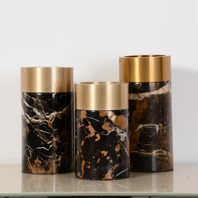 Каменные Аксессуары для домашнего декора, натуральное украшение, металлическое украшение для дома, мраморная ваза для цветов