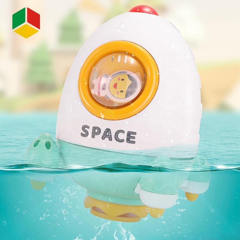 QS Rotating Rocket Waterfall Bath Toy Children Bathing Game Rotate Toy Water Spray Rocket Bathroom Bathtub Bath Toy