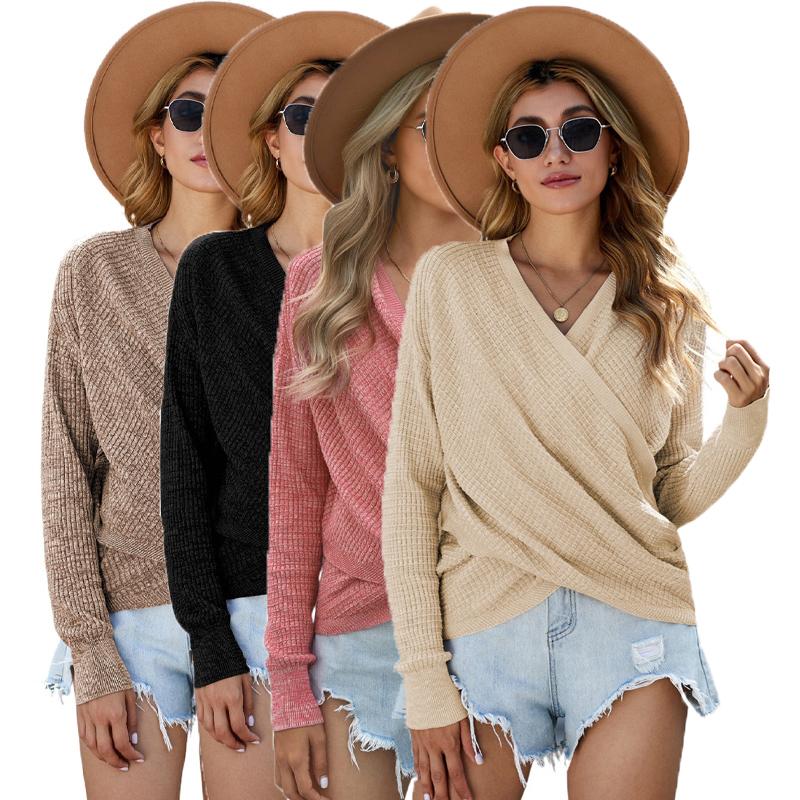 Женский трикотажный пуловер с V-образным вырезом и длинным рукавом
