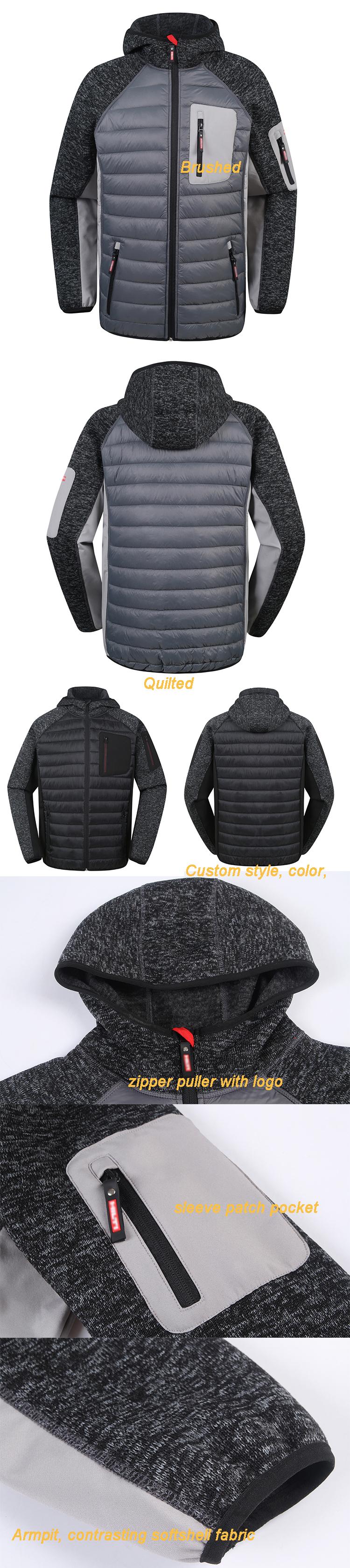 custom mens cotton fleece Outdoor warm light weight sport exercise waterproof winter quilted padded jacket
