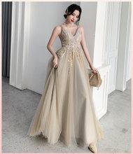 Женское длинное платье подружки невесты, элегантное вечернее платье с кружевной аппликацией, 2020(Китай)