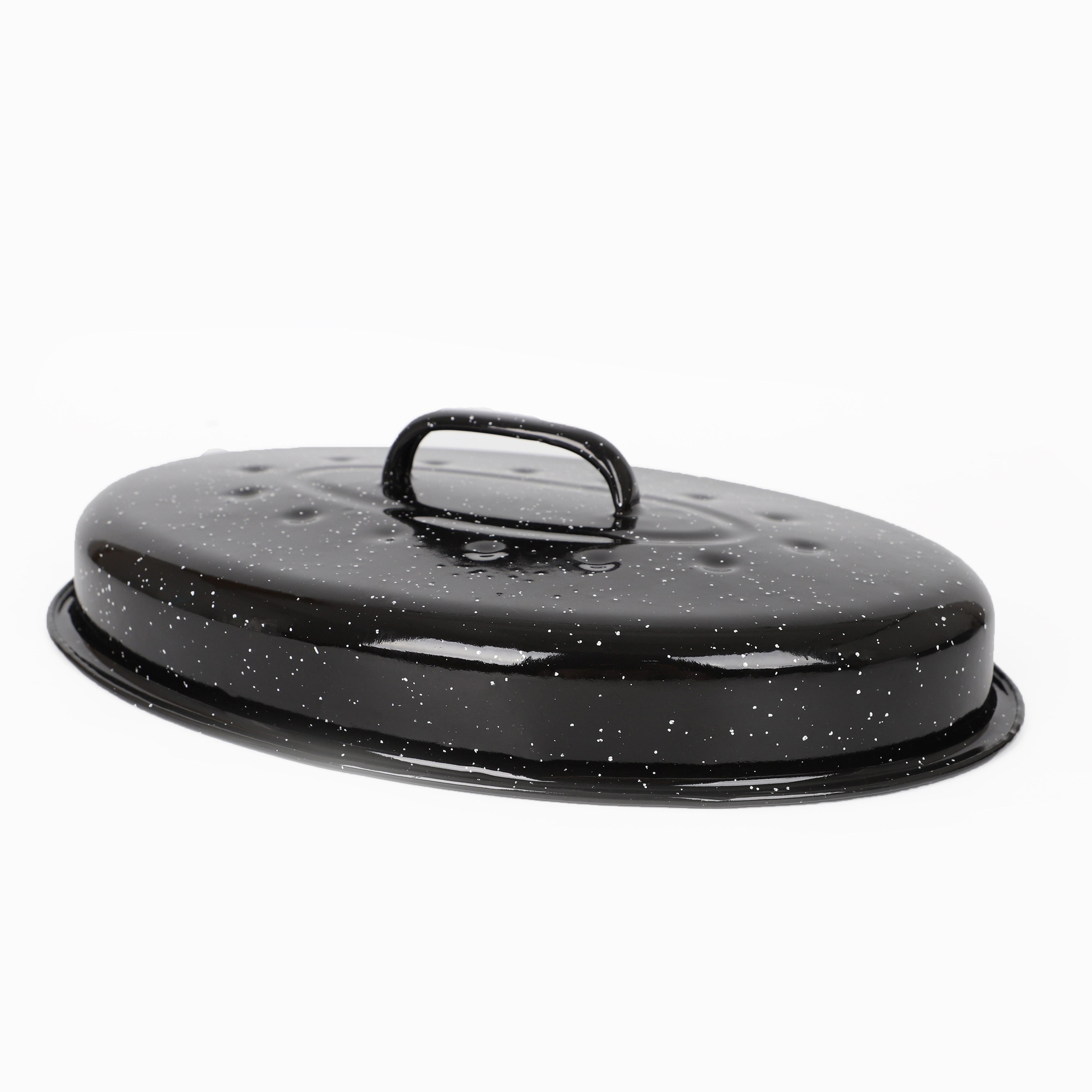 Kitchen Granite Ware Enamel On Steel Oval Roaster Covered Turkey Pan with Lid