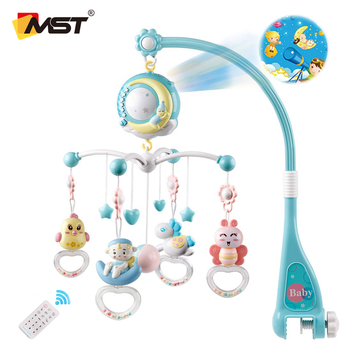 MST Hot Sell Bed Bell Musical Projection Box Baby Music Mobile Toys Hanging Rattle Bracket Holder Baby Mobiles For Kids