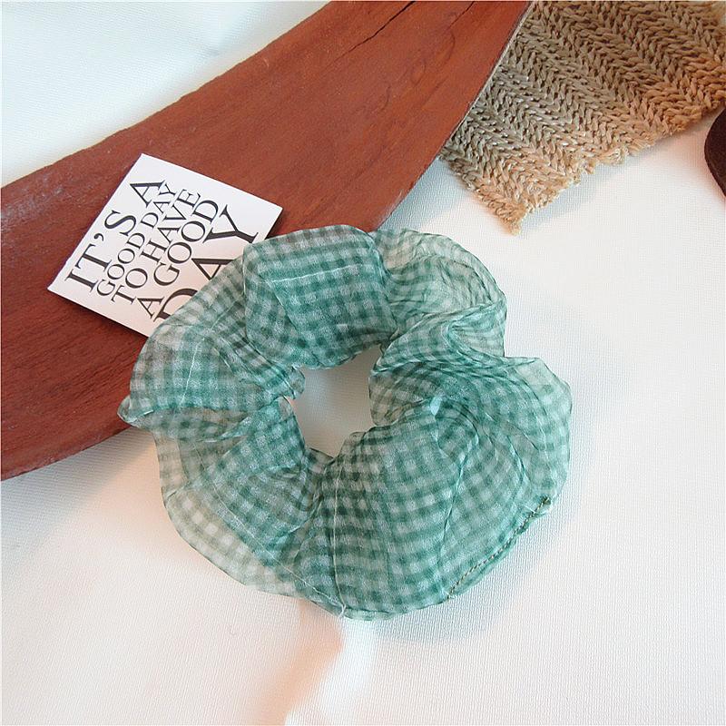 Modis, женские эластичные кавайные сетчатые повязки для волос, резинка для волос, для девушек, с принтом, клетчатые кружевные резинки для волос...(Китай)