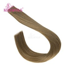 K.S парики Роскошные ленты в Remy человеческие волосы прямые сложенные пополам волосы кожа Уток Бесшовные человеческие волосы для наращивания...(Китай)