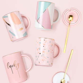 Feiyou wholesale custom 400ml pink gift milk porcelain cup sublimation reusable coffee ceramic mug with lid and spoon