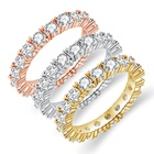Engagement Wedding Rings Factory Sale 3 Colors Gold Engagement Wedding Cz Diamond Rings For Women