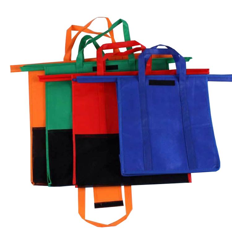 Индивидуальная цветная Защитная Нетканая сумка Engiromental, 4 упаковки, сумки для покупок, многоразовые сумки на колесиках для покупок