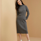 Design Skirt Cashmere Skirt Office Elegant Simple Design Rib Pit Trim Below-The-Knee Women Knitted Cashmere Skirt