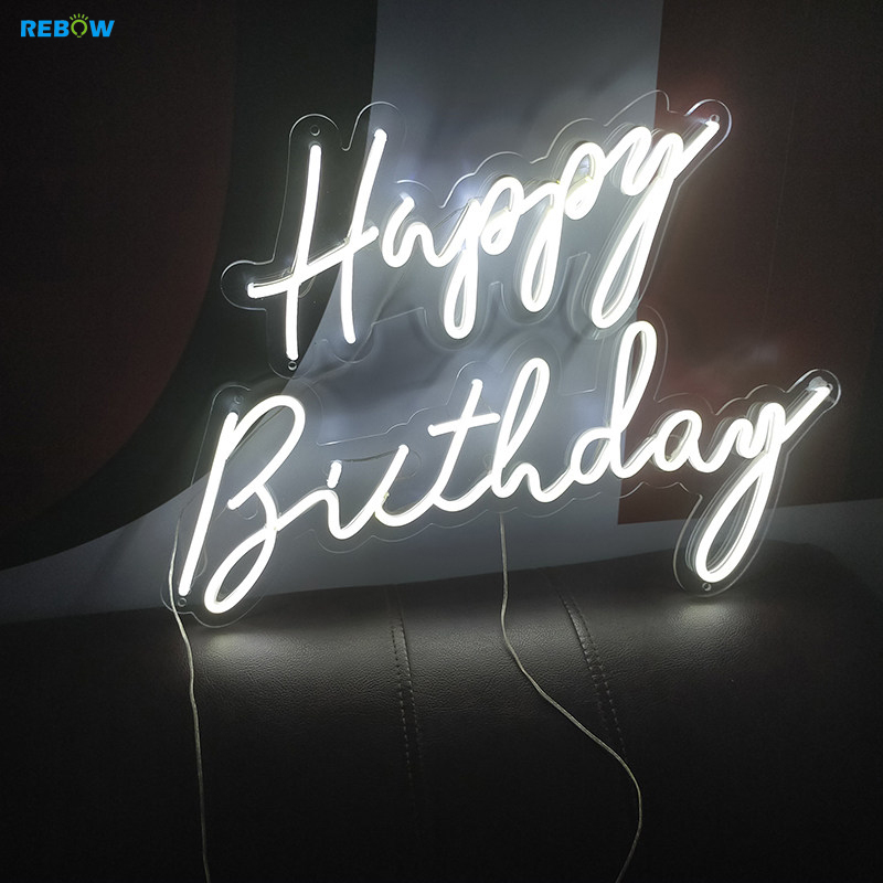 Rebow Drop Shipping Electronic Numbers Letters Happy Birthday Led Custom Neon Sign Light