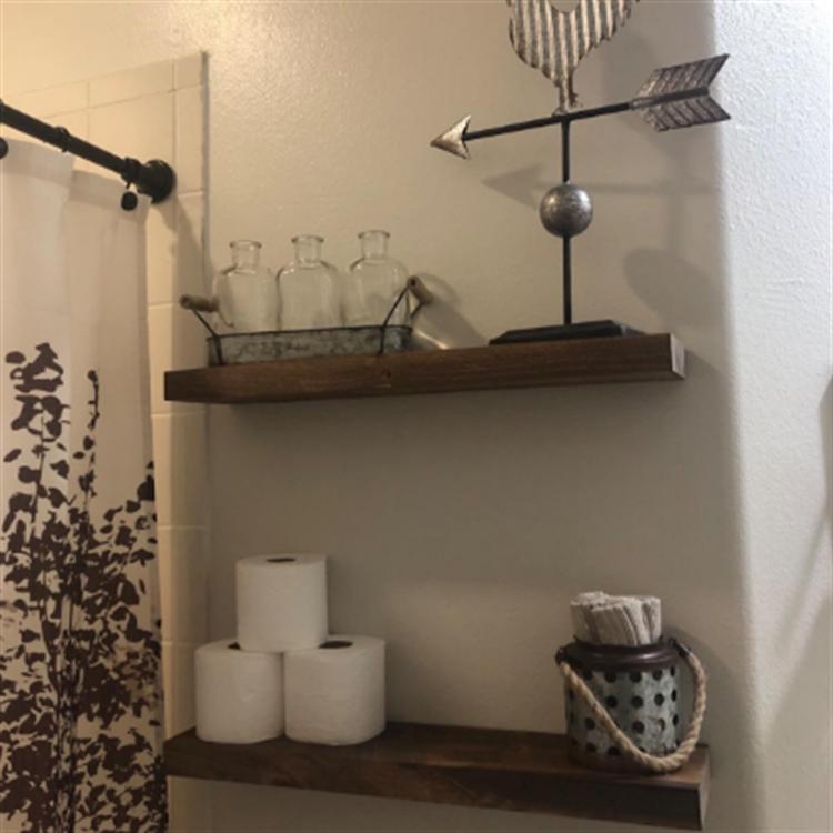 Custom color wooden set of 2 living room bedroom decor floating wall shelves