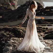 Сексуальное иллюзионное свадебное платье Boho ТРАПЕЦИЕВИДНОЕ свадебное платье с v-образным вырезом и рукавами с открытой спиной, пляжные сва...(China)