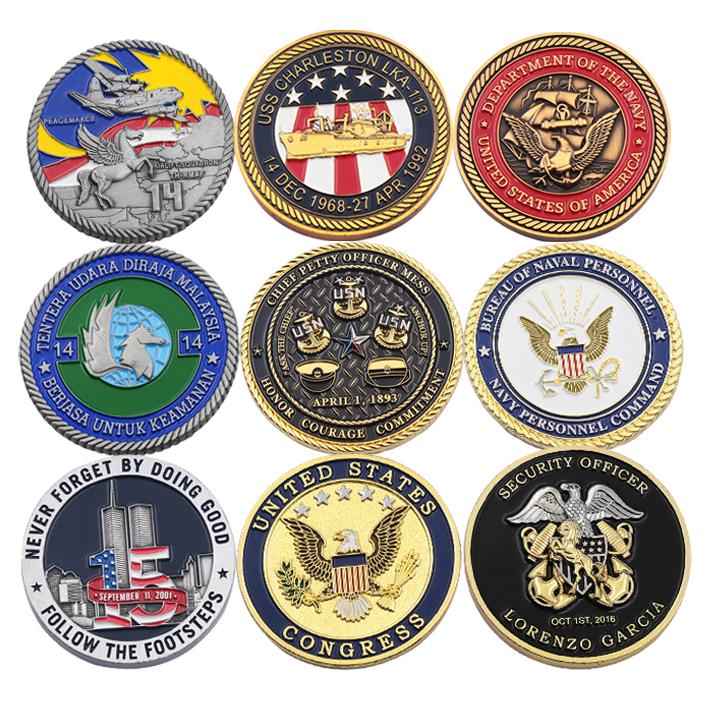 Custom 3D Zinc Alloy Brass sale of coins navy army souvenir Enamel Antique Gold Coin manufacturer military Challenge coins