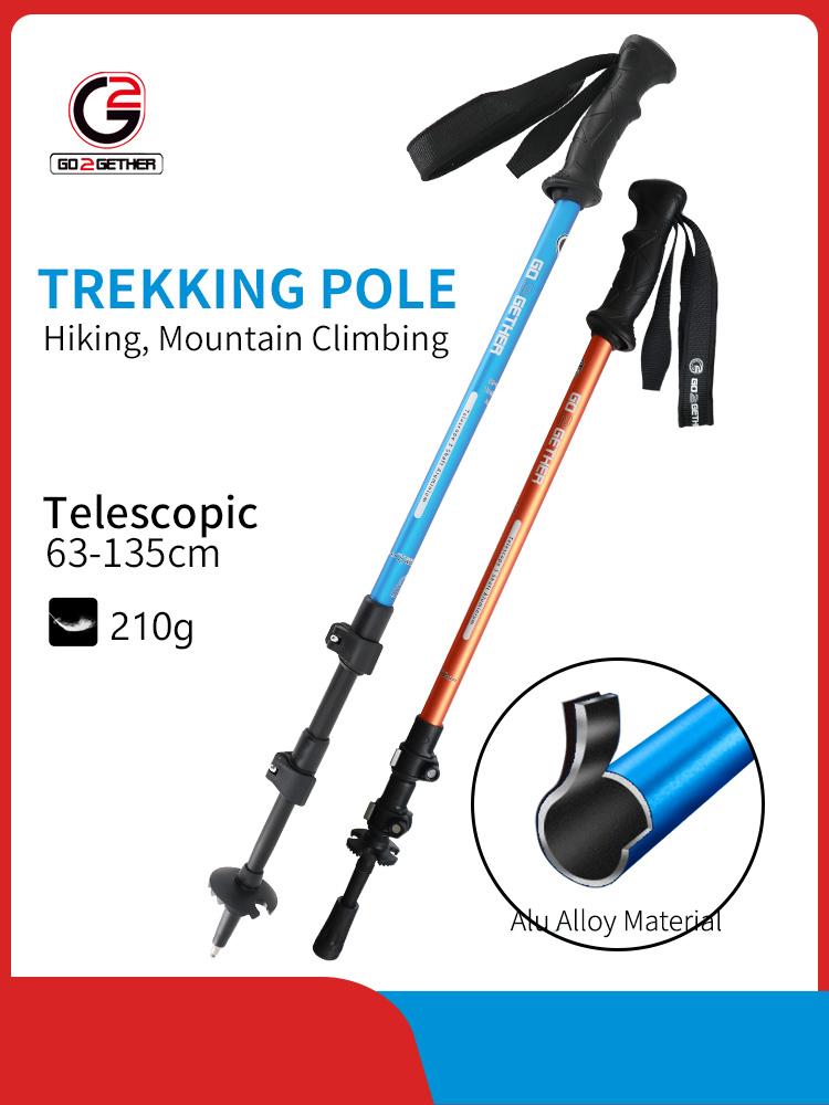 3 Section Hiking Stick TPR Handle Flip Lock Aluminum Alloy Trekking pole